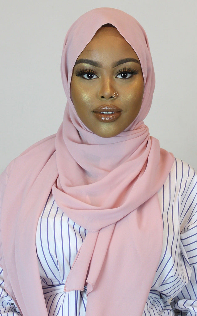 Rosado Stretch Georgette Hijab