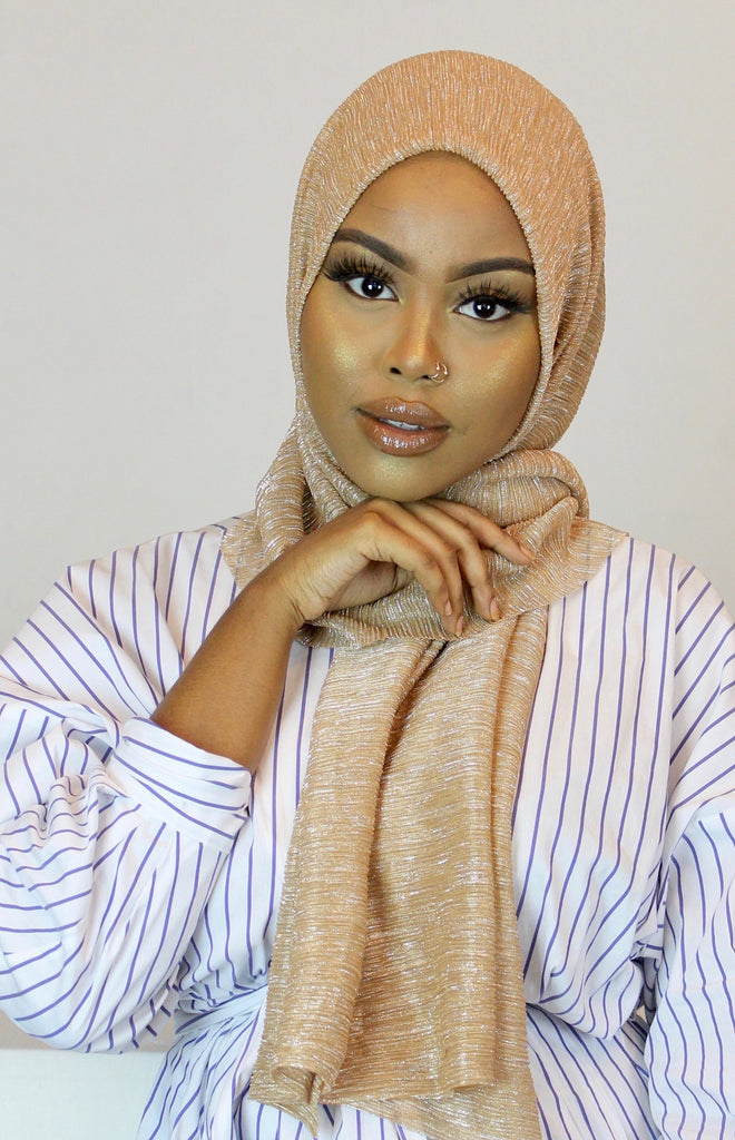 Champagne Crystal Rippled Luxe Hijab