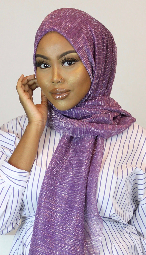 Purple Reign Crystal Rippled Luxe Hijab