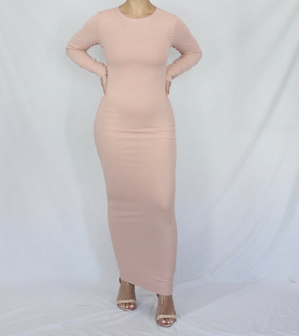 Blush Lightweight Rib Maxi Pencil Dress