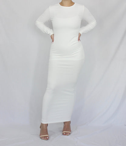 White Lightweight Rib Maxi Pencil Dress