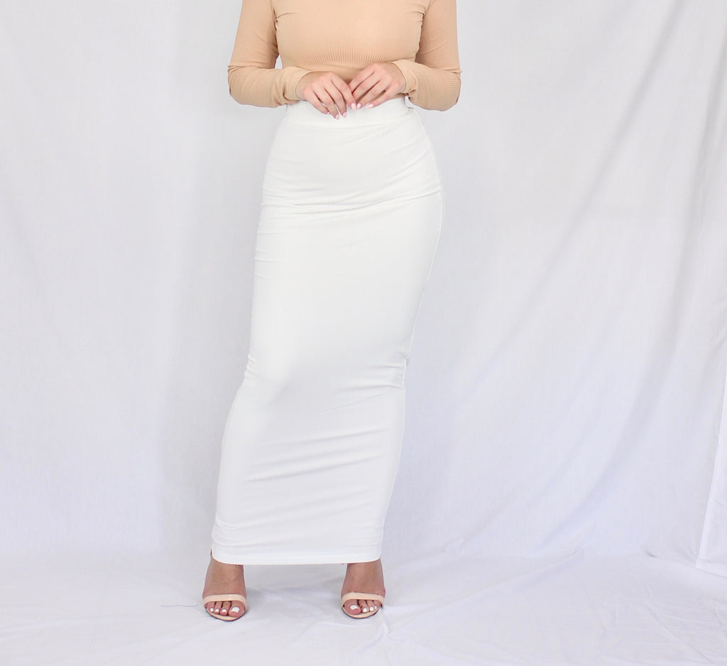 White Lightweight Rib Maxi Pencil Skirt