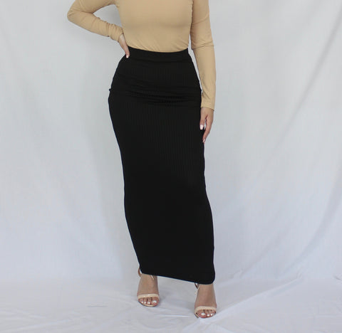 Black Lightweight Nano Rib Maxi Pencil Skirt