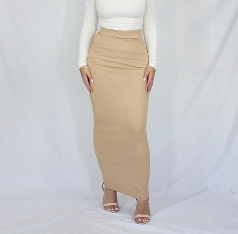 Nude Rib Lightweight Maxi Pencil Skirt