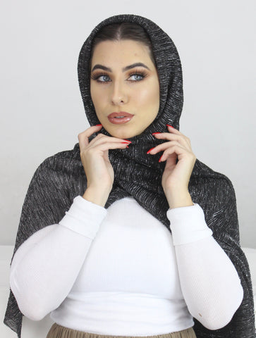 Night Crystal Rippled Luxe Hijab