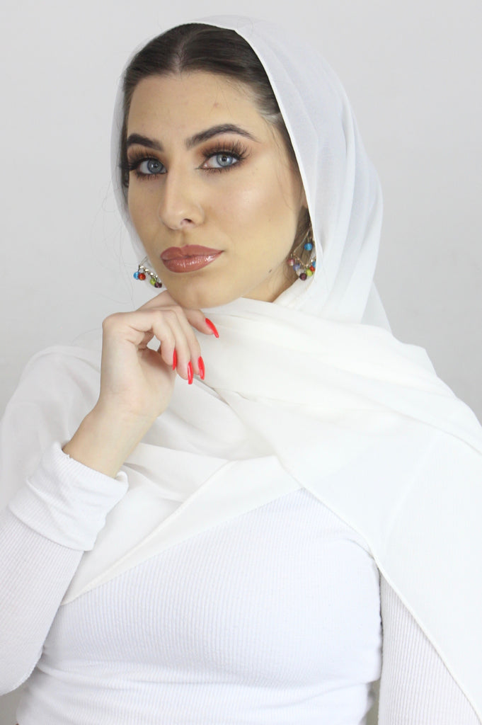Pure White Stretch Georgette Hijab
