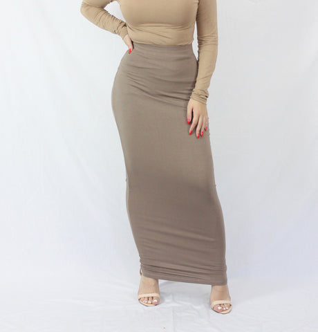 Taupe Plain Luxe Knit Maxi Pencil Skirt