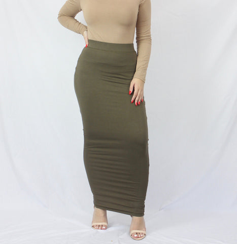 Moss Green Plain Luxe Knit Maxi Pencil Skirt