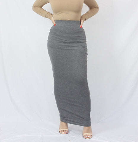 Charcoal Grey Plain Luxe Knit Maxi Pencil Skirt