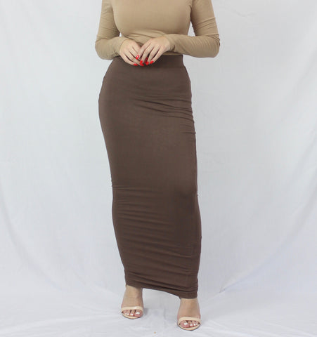 Morena Plain Luxe Knit Maxi Pencil Skirt