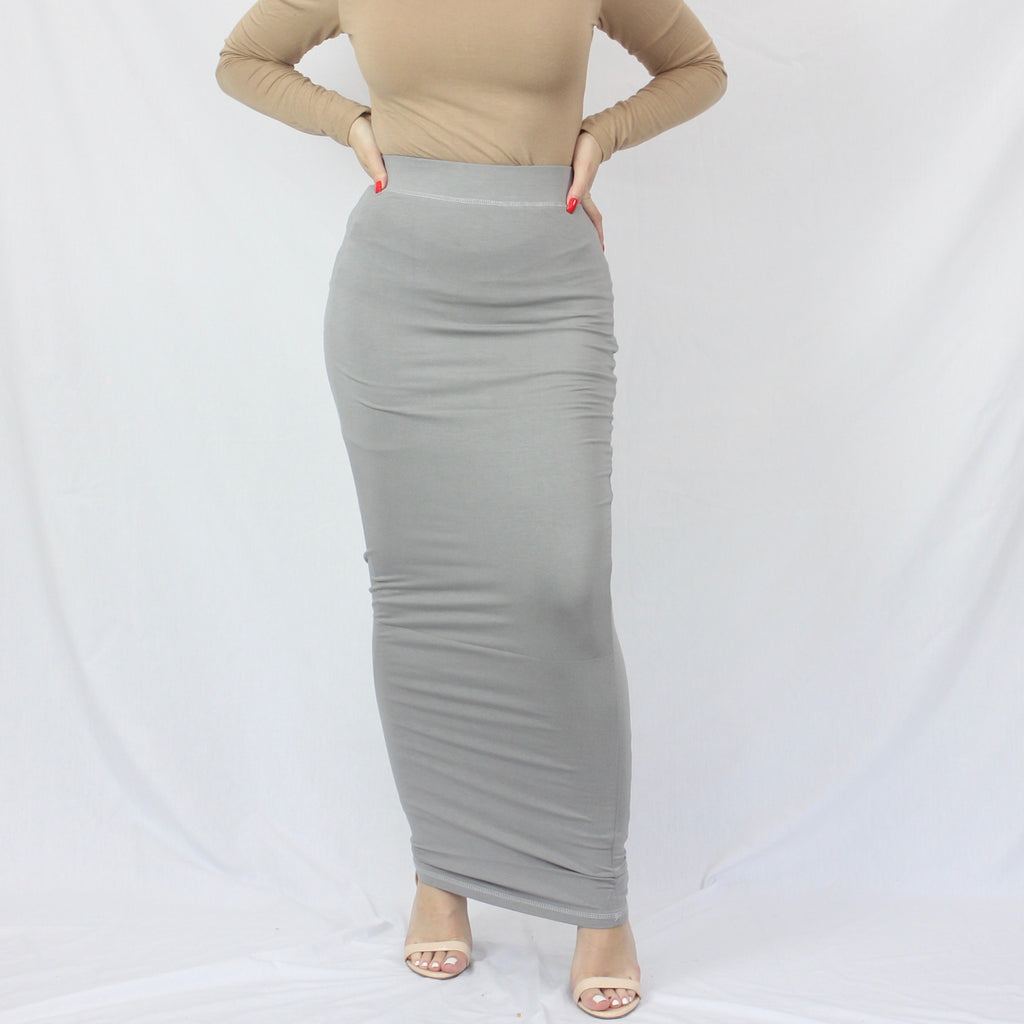 Slate Grey Plain Luxe Knit Maxi Pencil Skirt