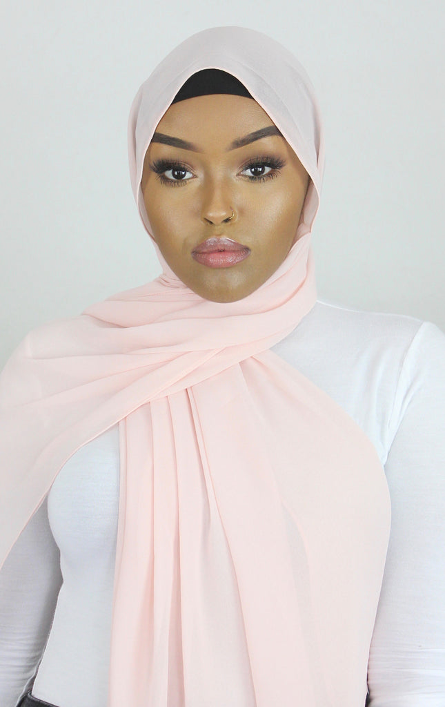 Powder Puff Pink Stretch Georgette Hijab