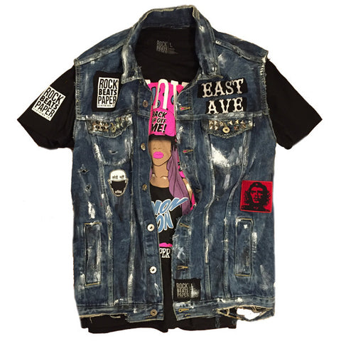 A Rock Beats Paper Custom- Birth of Hip Hop Denim Vest