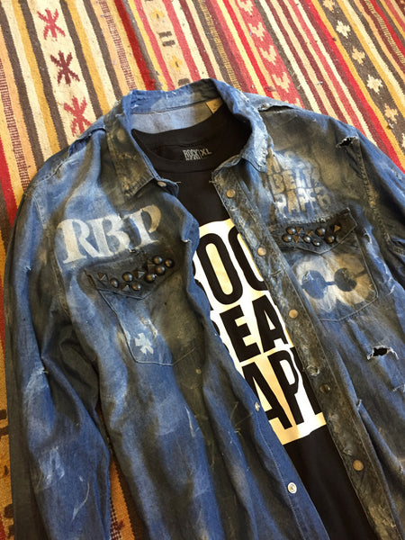 A Rock Beats Paper Custom - Folsom Destroyed Denim Shirt