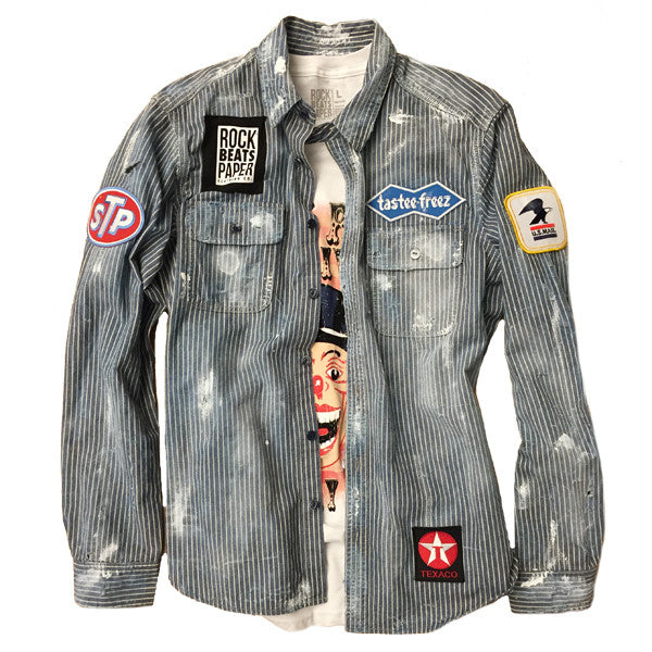 A Rock Beats Paper Custom- Working Class Hero Denim Shirt
