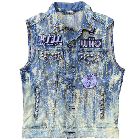A Rock Beats Paper Custom - Save the Robots Denim Vest