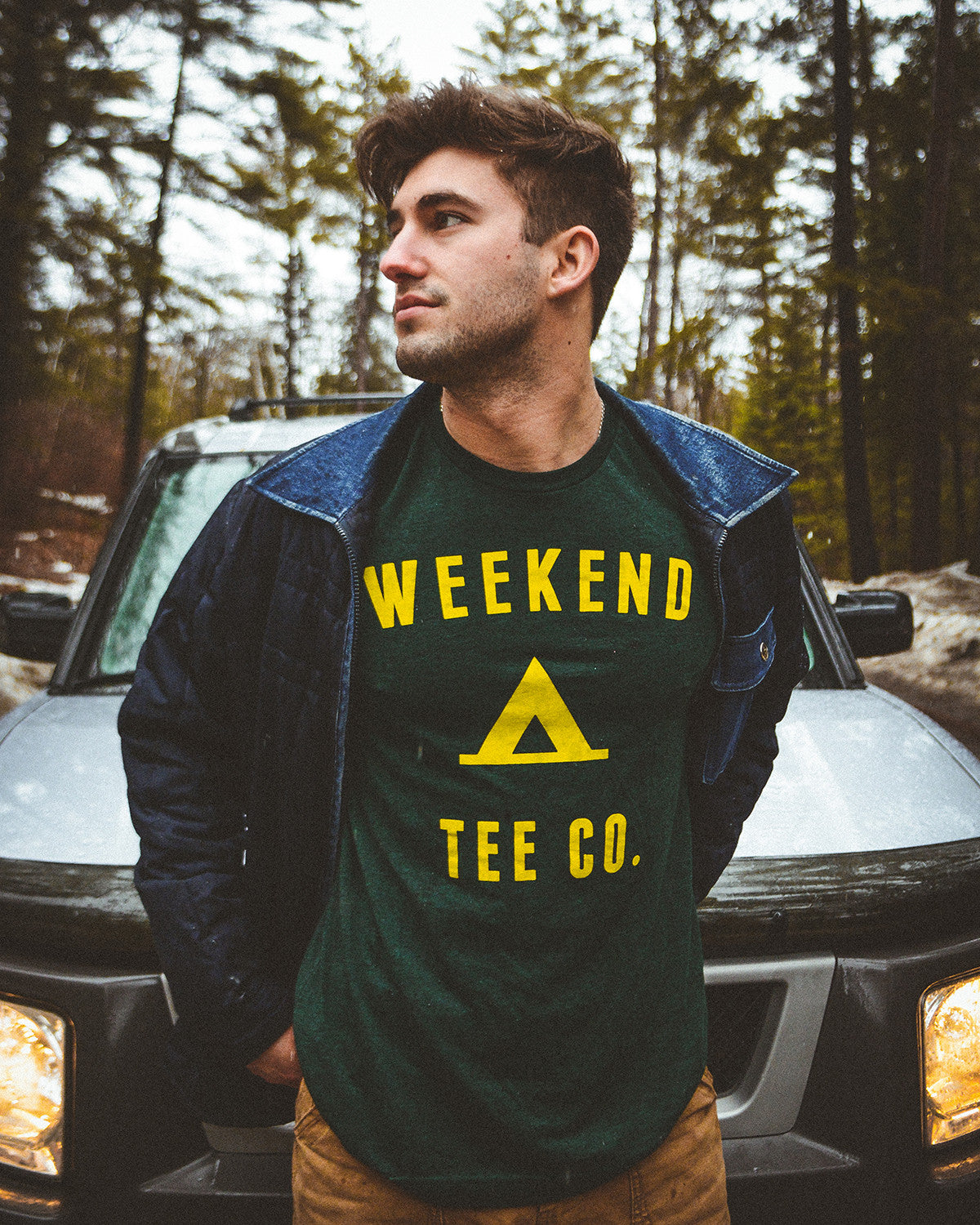 Camp tee in emerald gree
