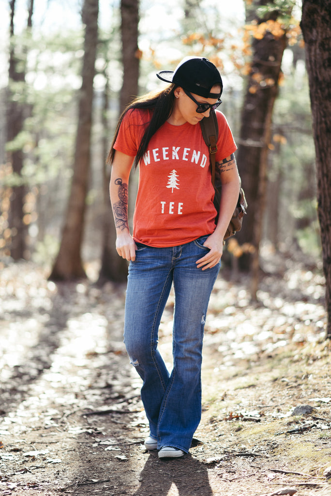 Weekend Pine Tee in Red Small
