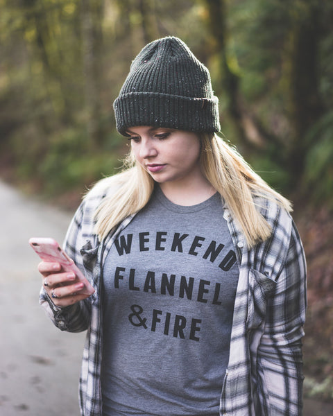 Weekend Flannel & Fire Tee Shirt grey outdoors