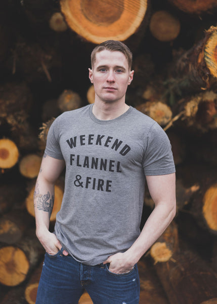 Weekend Flannel & Fire Tee Shirt grey woodpile