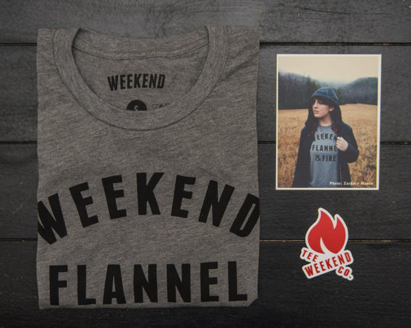 Weekend Flannel & Fire Tee Shirt grey collage