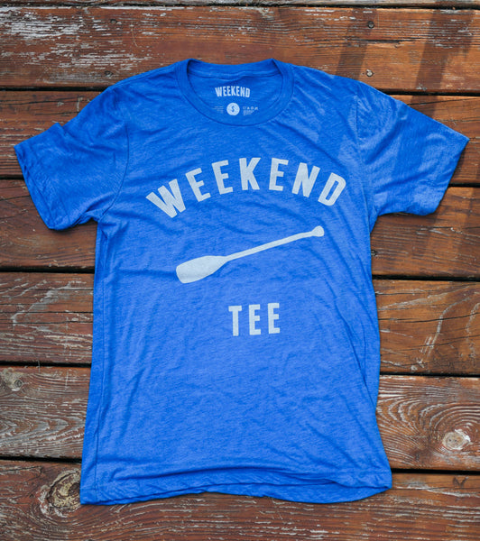 Weekend Paddle Tee Blue on deck