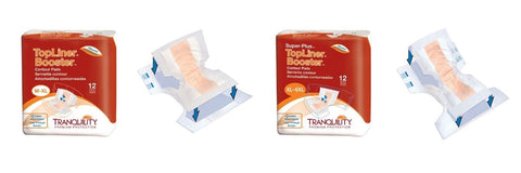 Tranquility TopLiner Booster Contour Pads in Regular and SuperPlus for light to heavy fecal incontinence or accidental bowel leakage