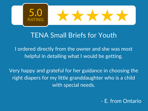 5 star review - TENA Small Briefs in XS, Slip Maxi Small and Small - adult diapers for older children