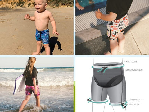 Conni Kids containment swimwear in three patterns with technical drawing