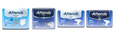 Attends Advanced Underwear, Attends Briefs XS_Youth, Attends Advanced Briefs & Attends Stretch Briefs with Moderate absorbency