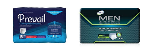 Prevail Overnight and TENA Protective Disposable Underwear for Men packaging