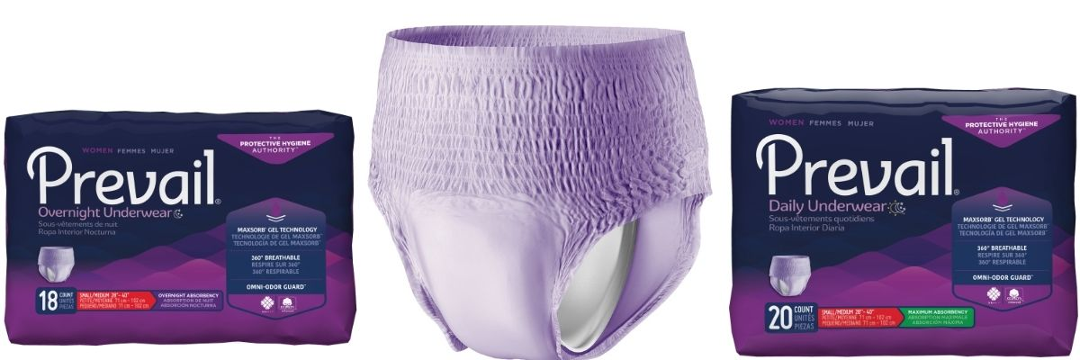 Prevail Disposable Underwear for Women for light to moderate incontinence