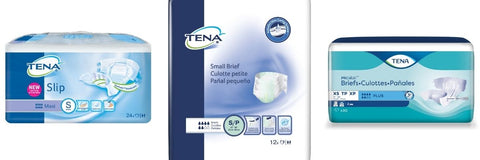 TENA Small Briefs: ProSkin Plus XS (formerly Youth), Slip Maxi or Small