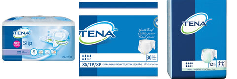 TENA Small Briefs line: Youth, Small & Slip Maxi packaging