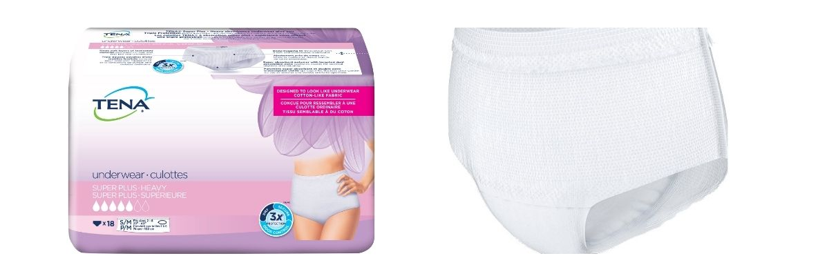 TENA Women Super Plus Protective Underwear, packaging and product illustration