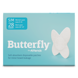 Attends Butterfly Body Patches for minor Fecal Incontinence or slight bowel incontinence in size S/M- front packaging