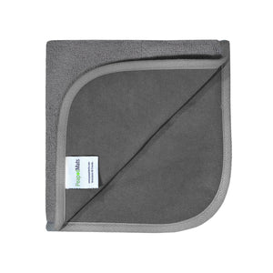 PeapodMats washable and reusable waterproof in 1.5'x1.5' small chair pad for bed wetting and incontinence, product illustration in folded dark grey showing the interior