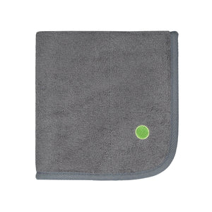 PeapodMats washable and reusable waterproof in 1.5'x1.5' small chair pad for bed wetting and incontinence, product illustration in folded dark grey granite