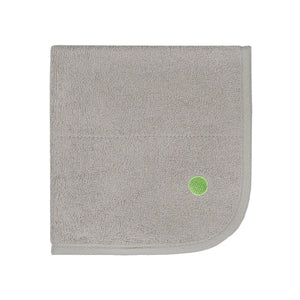 PeapodMats washable and reusable waterproof in 1.5'x1.5' small chair pad for bed wetting and incontinence, product illustration in sand taupe color folded