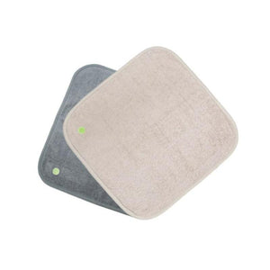 1.5' x 1.5' Small PeapodMats washable, reusable, waterproof chair pad to protect furniture against bladder leaks in dark grey and taupe (sand)