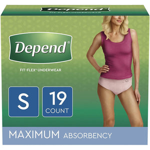 Depends FIT-FLEX Disposable Underwear for Women in small disposable underwear for light bladder leaks, packaging