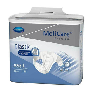MoliCare® Premium Elastic Adult Diaper in Large Brief for Incontinence, front packaging