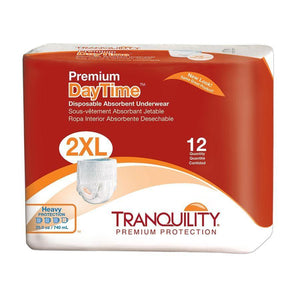 Tranquility Premium DayTime Disposable Absorbent Underwear for incontinence in 2XL; packaging image