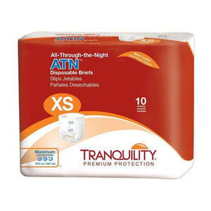 Tranquility All-Through-the-Night (ATN) disposable Briefs - Adult Diapers for overnight incontinence protection Extra Small packaging