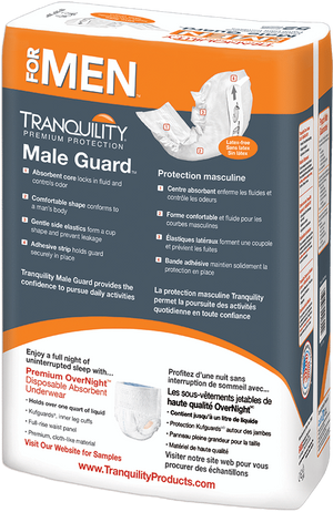 Tranquility Male Guard for light bladder leak protection - back of package