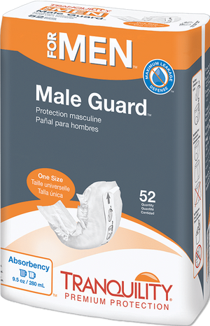 Tranquility Male Guard for light bladder leak protection - front of package