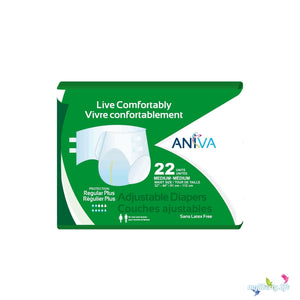 Aniva Adjustable Diapers in Regular Plus Medium Disposable Diaper for Incontinence, front of package