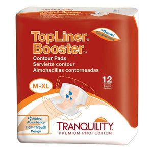 Tranquility TopLiner Booster Contour Pads in M-XL for light fecal incontinence or accidental bowel leakage packaging