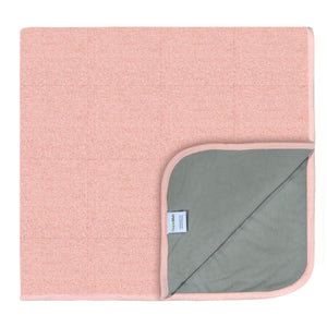 PeapodMats Waterproof Bed Wetting in 3'x3' Washable & Reusable Mats for Incontinence, product illustration in folded in pink color
