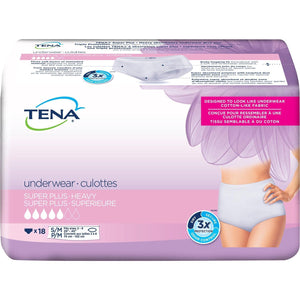 TENA Women Super Plus Underwear for Women for moderate to heavy bladder leak protection - disposable protective underwear in S/M packaging